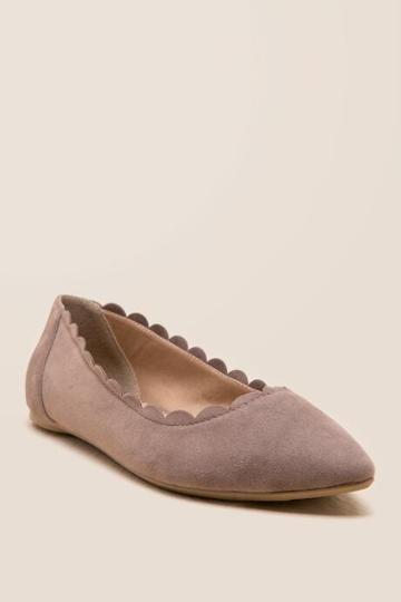 Restricted Jazzie Scalloped Flat - Taupe