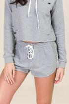 Alya Harmony Laceup Knit Shorts - Heather Gray