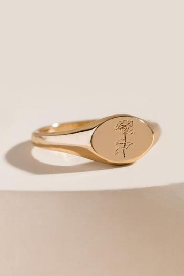 Francesca's Rose Signet Ring - Gold