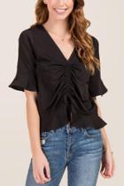 Francesca's Carmella Shirred Front Solid Blouse - Black