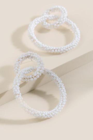 Francesca's Linked Beaded Hoops - Ivory