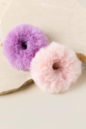 Francesca Inchess Ashlynn Faux Fur Scrunchies In Light Pink - Light Pink
