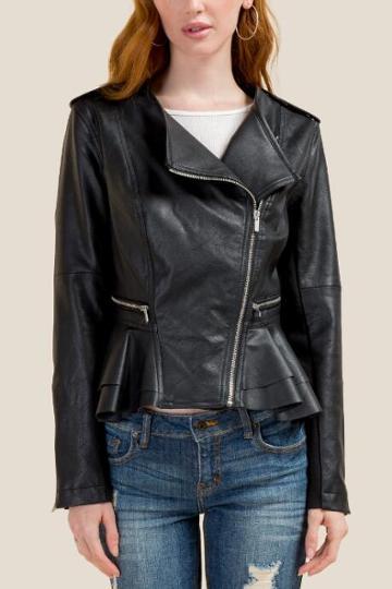 Francesca's Kara Peplum Moto Jacket - Black
