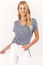 Francesca's Rachel Striped Vneck Tee - Navy