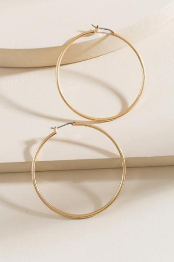 Francesca's Chantelle Thin Hoop Earrings - Gold
