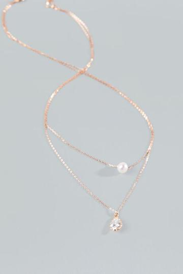 Francesca's Brynlee Sterling Layered Necklace - Pearl