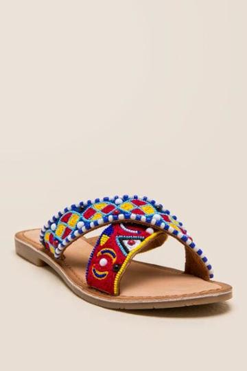 Chinese Laundry Purfect Beaded Slide Sandal - Cognac