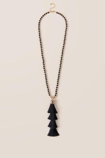 Francesca Inchess Gabi Beaded Tassel Pendant - Black