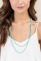 Francesca's Maui Glass Beaded Necklace - Mint