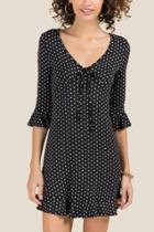 Francesca Inchess Dani Polkadot Ruffle Skater Knit Dress - Black