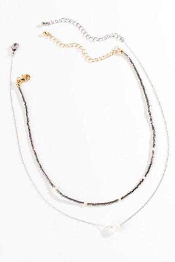 Francesca's Kailyn Freshwater Pearl Layered Necklace - Hematite