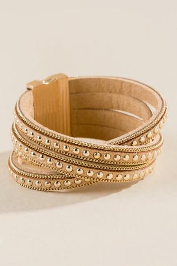 Francesca's Reign Studded Wrap Bracelet - Taupe