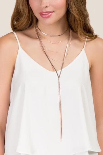 Francesca's Gianna Layered Necklace In Rose Gold - Rose/gold