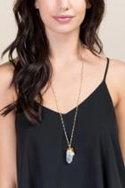 Francesca's Clarise Crystal Quartz Pendant Necklace - Clear