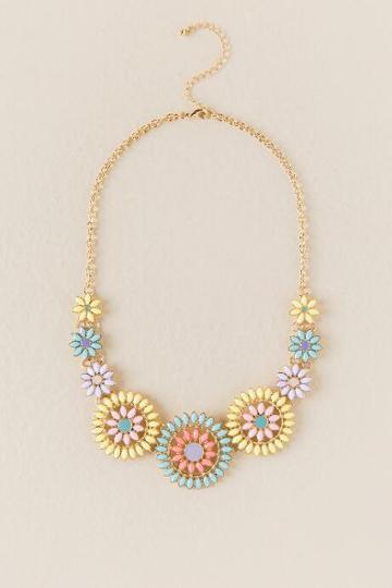 Francesca's Magnolia Floral Statement Necklace - Multi