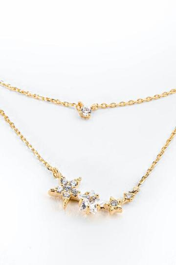 Francesca's Faith Layered Cz Stars Necklace - Gold