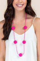 Francesca's Courtney Beaded Necklace In Pink - Fuchsia