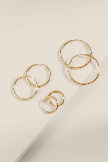Francesca's Rainah Metal Hoop Set - Gold