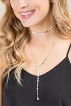 Francesca Inchess Ireland Layered Lariat Necklace - Rose/gold
