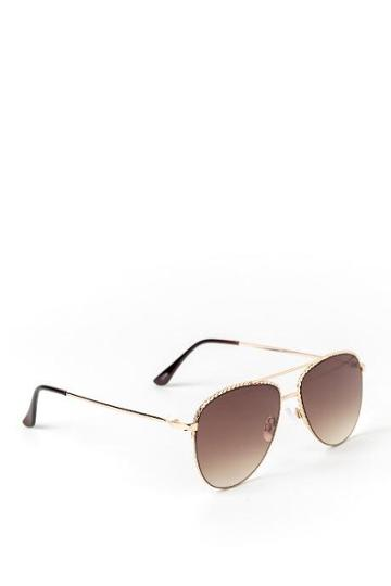 Francesca's Mia Braided Metal Frame Aviator Sunglasses - Brown