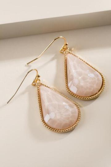 Francesca Inchess Tricia Faceted Teardrop Earrings - Sand