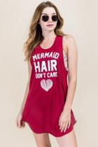 Francesca's Mermaid Hair Don't Care Screen Cover-up - Burgundy