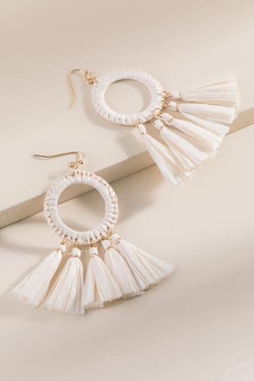 Francesca Inchess Raffia Tassel Earrings - Ivory