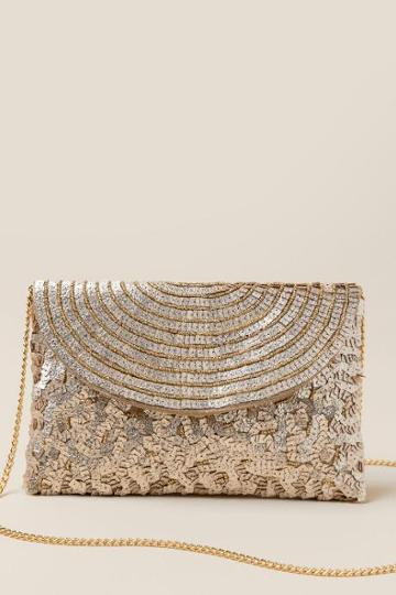Francesca's Justina Sequin Clutch - Gold