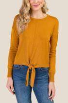 Francesca Inchess Coretta Basic Tie Front Knit Top - Mustard