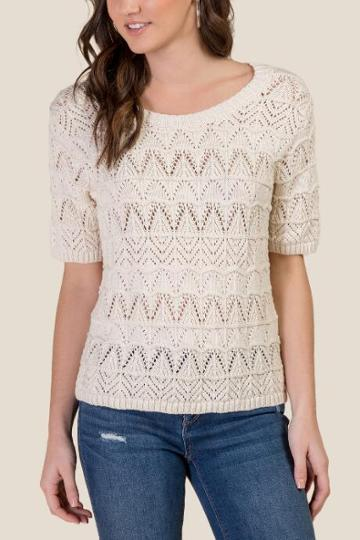Francesca's Angie Pointelle Cropped Sweater - Ivory
