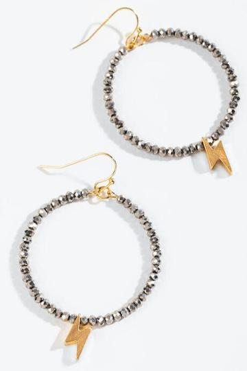 Francesca's Bianca Beaded Lightning Circle Drop Earrings - Hematite
