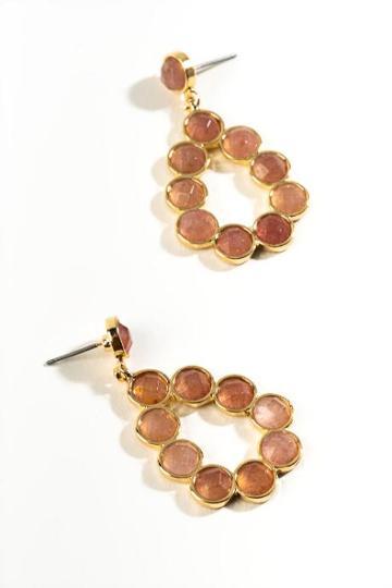 Francesca's Polly Mini Stone Teardrop Earrings - Blush