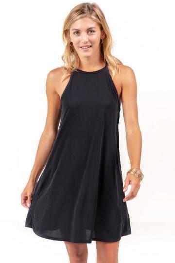 Francesca's Charlie High Neck Dress - Black
