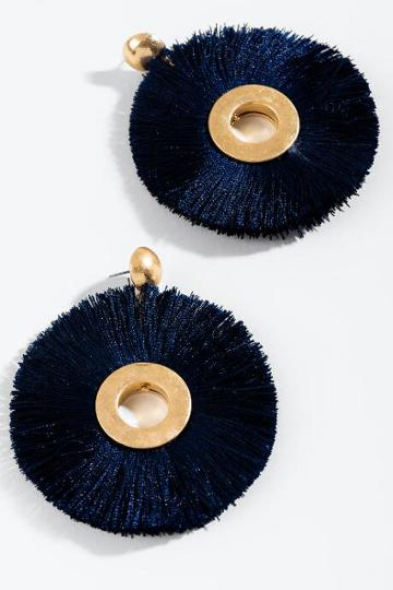 Francesca's Lindsey Round Tassel Earrings - Navy