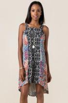 Mi Ami Annalyssa Printed Shift Dress - Rust