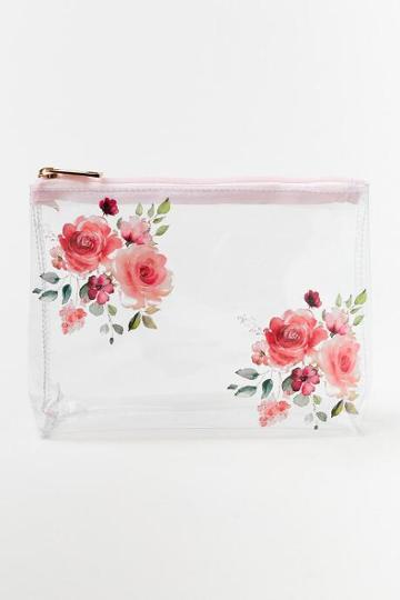 Francesca's Floral Cosmetics Bag - Pink