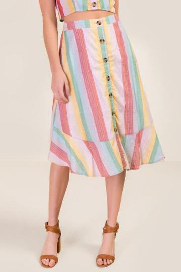 Francesca's Ashlee Big Button Striped Skirt - Multi