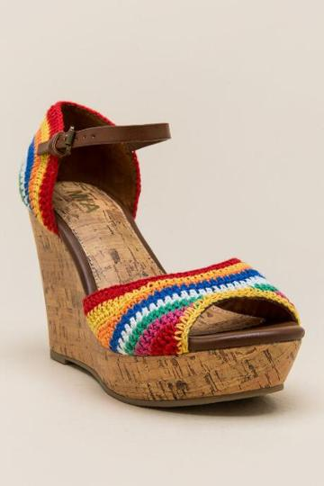 Mia Holly Rainbow Macrame Wedge - Multi