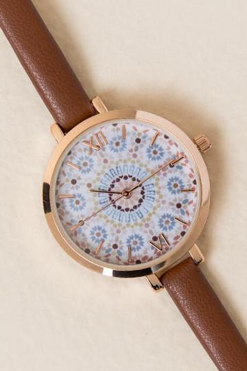 Francesca's Floral Bursts Skinny Watch - Cognac