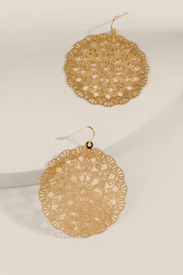 Francesca's Scarlett Filigree Earrings - Gold