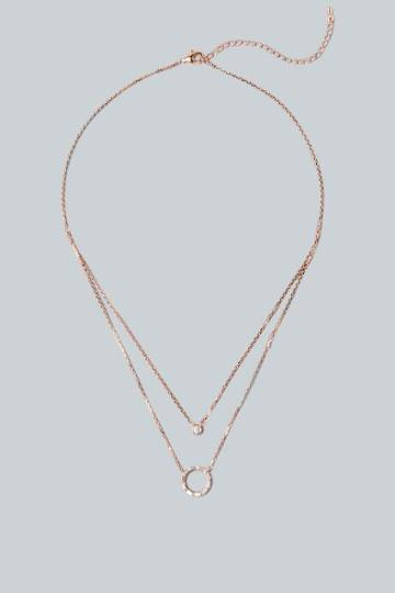 Francesca's Lucca Layered Circle Pendant Necklace - Rose/gold