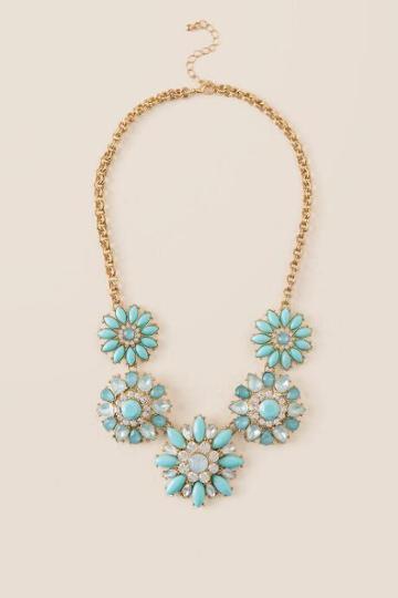 Francesca's Holly Floral Statement Necklace - Mint