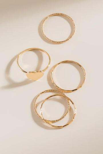 Francesca's Grace Heart Stacking Ring Set - Gold