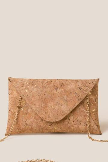 Francesca's Xena Cork Envelope Clutch - Gold