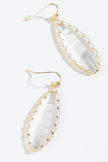 Francesca's Kiara Glass Stone Teardrop Earrings - Crystal