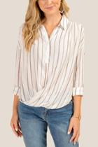 Francesca Inchess Ivy Striped Button Front Blouse - Cinnamon