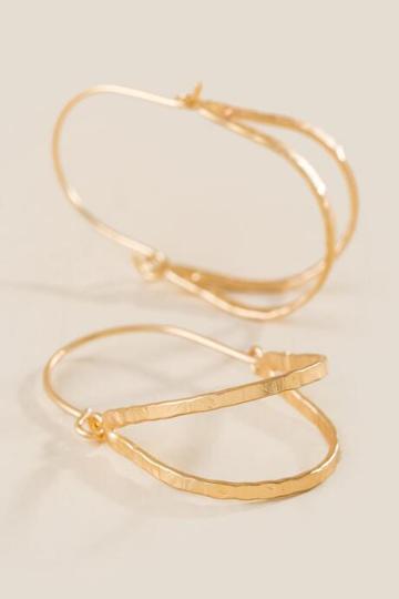 Francesca's Rosa Oval Hinge Hoop Earrings - Gold