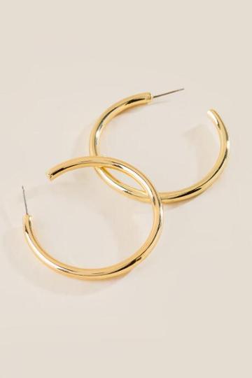 Francesca's Nikki Tube Hoop Earrings - Gold