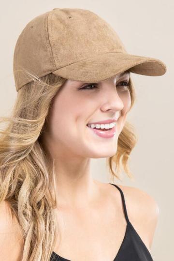Francesca's Liz Vegan Suede Baseball Cap - Taupe