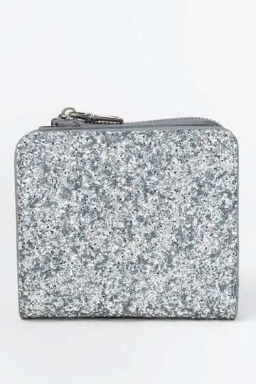 Francesca's Patti Glitter Zip Around Wallet - Silver